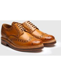 Grenson Archie Big Punch Brogue Shoes - Brown