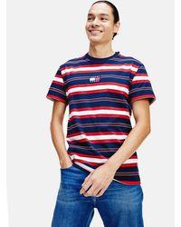 Tommy Hilfiger Pure Cotton Stripe Logo T-shirt - Blue