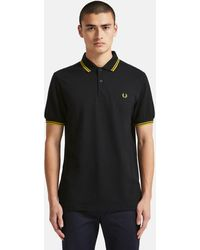 Fred Perry M3600 Twin Tipped Polo Shirt - Black & Porcelain