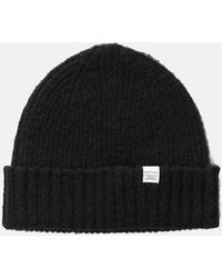 Norse Projects Rib Beanie Hat Brushed (wool) - Black