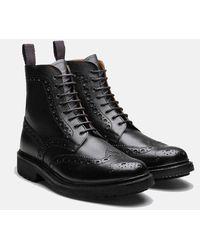 Grenson Fred Brogue Boot (commando Sole) - Black