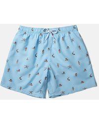 Boardies X Amh Yoga Swim Shorts (mid-length) - Blue