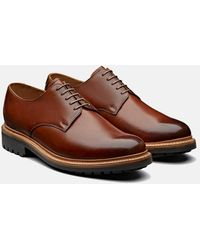 Grenson Curt Derby Shoes (hand Painted Leather) - Brown