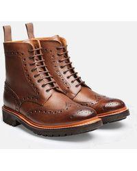 Grenson Fred Brogue Boot (commando Sole) - Brown