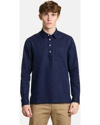 Norse Projects Oscar Indigo Half Placket Shirt - Blue