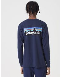 Patagonia P-6 Logo Responsibili-tee Long Sleeve T-shirt - Classic Navy - Blue