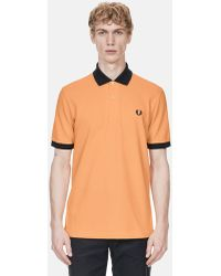 Fred Perry Contrast Rib Pique Polo Shirt - Orange