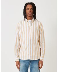 Norse Projects Anton Oxford Shirt - Sunwashed Yellow Wide Stripe