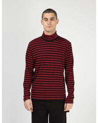 Calvin Klein Stripe Long Sleeve Turtleneck - Red