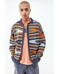 Urban Outfitters Uo Wavy Collared Cardigan - Blue