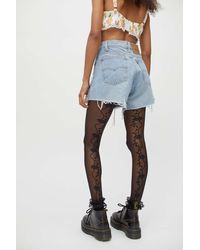 Urban Outfitters Floral Back Seam Tight - Black
