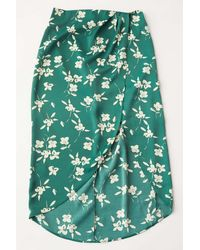 Urban Outfitters Uo Kelly Tulip Wrap Midi Skirt - Green