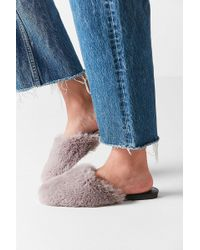 Urban Outfitters Uo Faux Fur Mule Slide - Gray