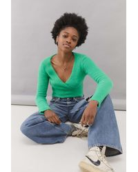 Urban Outfitters Uo Fluffy Wrap Crop Top - Green