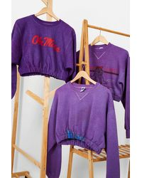 Urban Renewal Remade From Vintage Bubble Hem Sweatshirt - Purple