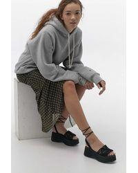 Urban Outfitters Uo Saffron Woven Flatform Sandal - Black