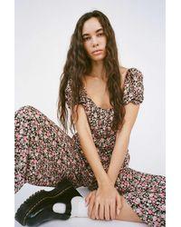 Daisy Street Floral Puff Sleeve Jumpsuit - Multicolor