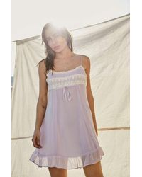 Urban Outfitters Uo Becca Lace Trim Lilac Mini Slip Dress - Purple