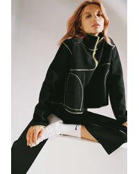 Urban Outfitters Uo Posie Fleece Half-zip Sweatshirt - Black