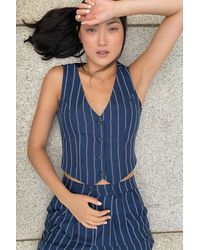 Urban Renewal Urban Outfitters Archive Navy Pinstripe Waistcoat - Blue