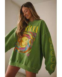 Urban Outfitters Nirvana Smile Overdyed Sweatshirt - Green