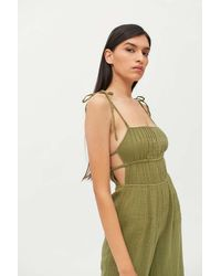 Urban Outfitters Uo Courtney Tie Shoulder Jumpsuit - Green