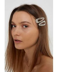 Urban Outfitters Oversized Hair Clip Set - Metallic