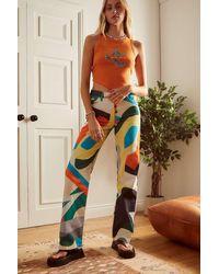 Jaded London Abstract Square Print Boyfriend Jeans - Multicolour