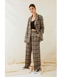 Urban Outfitters Uo Neutral Checked High-waisted Puddle Trousers - Multicolour