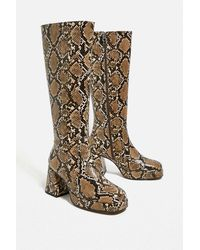 Urban Outfitters Uo Vix Knee-high Snake Print Boots - Multicolor
