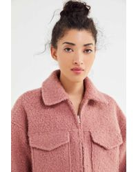 Urban Outfitters Uo Teddy Zip-front Trucker Jacket - Pink