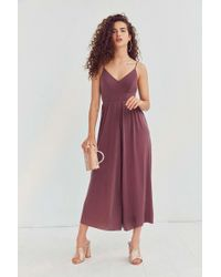 Silence + Noise Molly Maroon Cupro Culotte Jumpsuit - Red