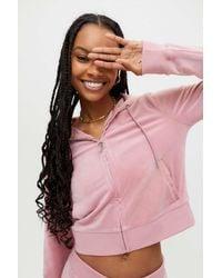 Juicy Couture Embellished Velour Zip-up Hoodie Track Jacket - Pink