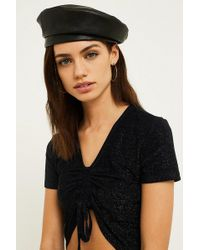 Urban Outfitters - Faux Leather Beret - Lyst