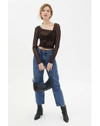 Urban Outfitters Uo Shona Cinched Mesh Top - Brown