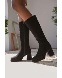 Urban Outfitters Uo Vix Knee-high Black Faux Suede Boots