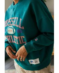 Russell Athletic Uo Exclusive Football 02 Green Crew Neck Sweatshirt