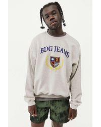 BDG Ecru Embroidered Crest Sweatshirt - Multicolour