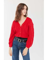 Urban Outfitters - Uo Elena Cable Knit Cardigan Sweater - Lyst