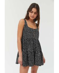 Urban Outfitters Uo Cindy Tiered Ruffle Romper - Black