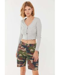 Urban Outfitters Uo Stella Button-front Cropped Cardigan - Gray