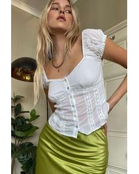 Urban Outfitters Uo Wesley Prairie Blouse - White