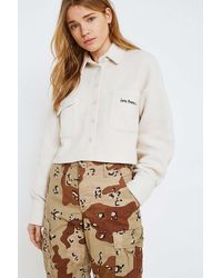 iets frans... Cropped Ivory Fleece Overshirt - Womens M - White