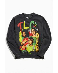 Urban Outfitters Tlc Distressed Pigment Dyed Crew Neck Sweatshirt - Black