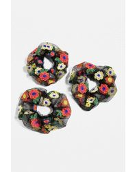 Urban Outfitters Organza Floral Embroidered Scrunchie Set - Black