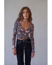 Urban Outfitters Uo Floral Print Long Sleeve Bennett Top - Black