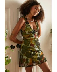 Urban Outfitters Uo Green Groovy Maxwell Mini Dress