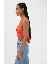 Urban Outfitters Uo Phoenix Plunging Tie-back Tank Top - Red