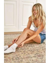 Urban Outfitters Uo Floral Roll Top Socks - White
