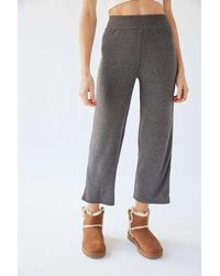 Out From Under Mona Ribbed Cropped Culotte Pant - Gray